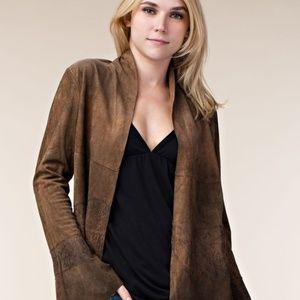 Faux Suede Lace Trim Jacket Brown Coat Open Front